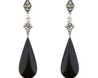 Cordelia Drop Earrings | Black Onyx, Marcasite and Sterling Silver