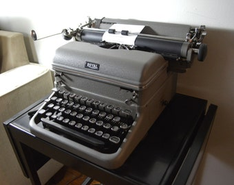 1940s Royal Manual Gray Touch Control Typewriter and Metal Mobile Typewriter Stand
