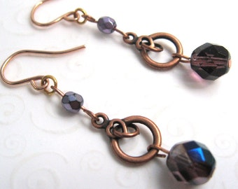 Antique Copper Earrings, Lilac and Purple Czech Bead Earrings, Simple Copper Fashion Earrings, Beaded Jewelry