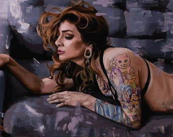 "Oil painting of woman with tattoos on a couch 18""x36""x1.5"" framed linen canvas figurative contemporary art by Greg Colligan"