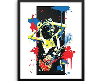 16 x 20 Angus Young Wall Art AC/DC Home Decor Pop Art Framed Prints