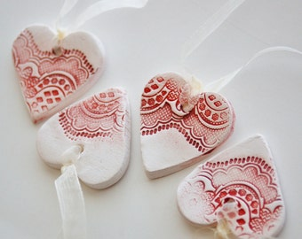 Scented ornament gift tag hearts to add to package, room or tree