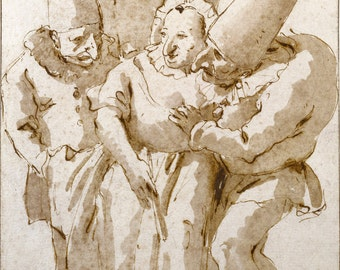 European Master Drawing Reproductions: Giovanni Battista Tiepolo. Punchiellos Approaching a Woman, c. 1730. Fine Art Print.
