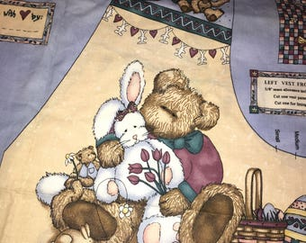 Teresa Kogut Holiday Easter Adult Bears n Hares vest panel cotton quilt sewing Fabric