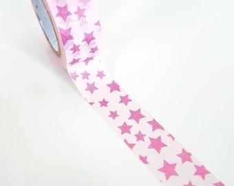Pink Stars Washi Tape - Full Roll