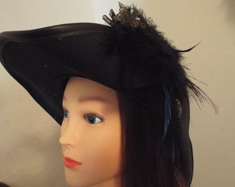Feathered Fascinator, Jewel-toned and Steampunk Butterfly - Pirate Wench Rennaissance