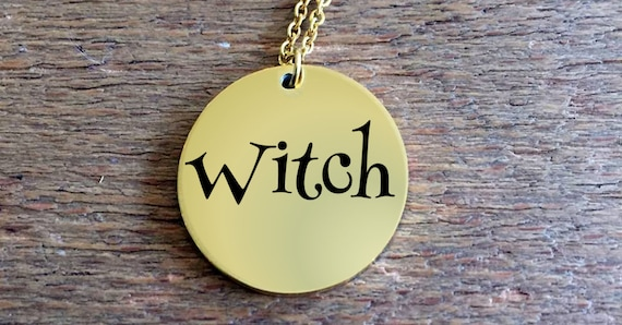 Witch Laser Engraved Necklace  18k Gold or Stainless Steel  Scifi gifts for women