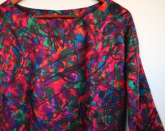 scribble on brights...ladies loose fit autumn blouse with 3/4 sleeves in vintage fabric