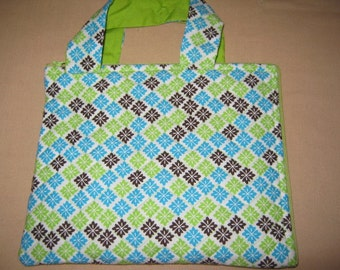 Kindle Fire/NookColor/Tablet Tote  Green Blue Brown Print