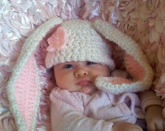 Crochet Bunny Hat, Crochet Baby Bunny Hat, Bunny Photo Prop, Baby Bunny Costume, Photo Prop Costume, Crochet Newborn Bunny Hat