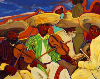 Zapatistas,  Followers of Emiliano Zapata, Print from an Original Oil Painting, Fine Art Prints, Mexican History, Wall Decor
