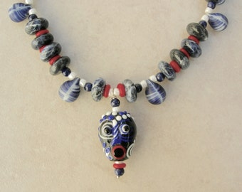 WHIMSICAL Funny Glass Face Reversible Pendant, Blue Sodalite Rondelles, Mali Wedding Bead, Lapis,Faces Collection, Necklace by SandraDesigns