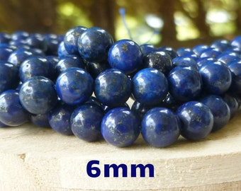 6mm Lapis Lazuli Beads Round 8 inch Strand Boho Leather Wrap Ladder Bracelet Supplies Blue