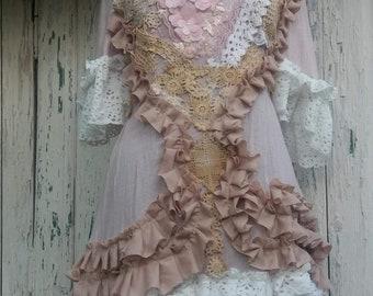 Dress, fae, faerie punk, upcycled clothing, Mori girl, ruffles , Marie Antoinette, pink, vintage dress, wedding,pastel goth, powder pink