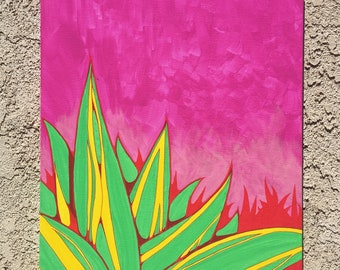 Agave Americano on Pink