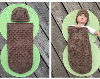 Basket Weave Infant Cocoon & Hat Set