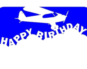 Airplane Art  Happy Birthday Card with Piper Cub Aircraft in DXF Format