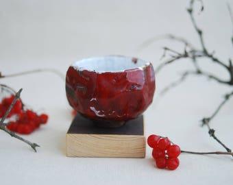 Red raku teacup fot tea ceremony