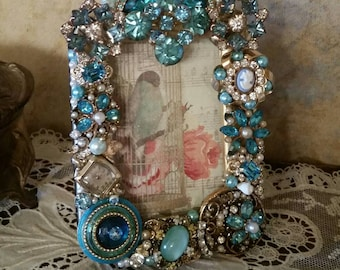 OOAK Repurposed Vintage Jewelry Hand Decorated Jeweled Picture/Photo Frame sn 1808