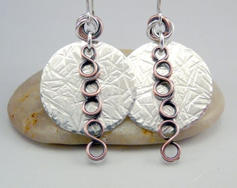 Hammered Silver Earrings, Cool Earrings, One of a Kind, Mixed Metal Earrings, Silver Circle Earrings, Metal Earrings, Silver Dangle Earrings