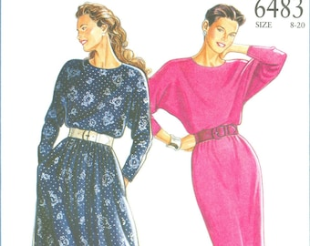 1980s Misses' Dress with Skirt in Two Lengths Uncut Factory Fold Size 8,10,12,14,16,18,20 - Simplicity New Look Sewing Pattern 6483
