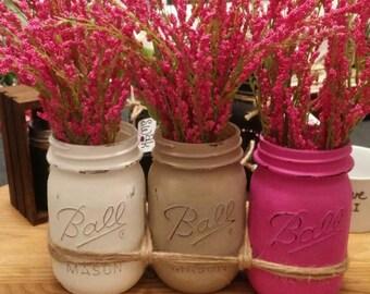 Beautiful Pink Mason Jar Arrangement . Farmhouse.