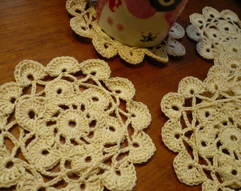 set of 6 coasters, made in ecru crochet cotton