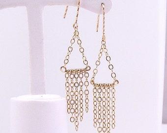 Gold fill chain dangle chandelier earrings