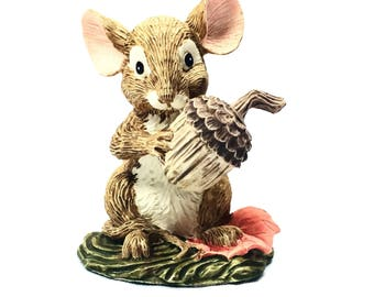 Vintage Ceramic Mouse figurine 1991 vintage mouse Thanksgiving cake topper Autumn mouse fall season   (M25)