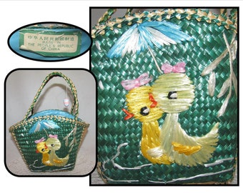 Vintage Girls Woven Green Easter Basket Purse w/ 2 Raffia Yellow Ducks Ducklings, Republic of China, 80s