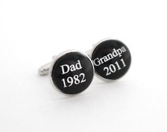 Father's Day Cufflinks Grandpa Cuff Link Grandparents Baby Announcement Granddad Pregnancy Reveal to Grandfather Gifts Stainless Cufflink