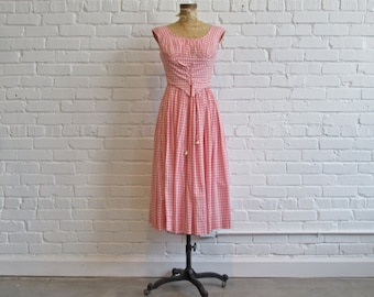 Late 1950s Pink Gingham Dress // 50s Corset Dress // Vintage 1950s Mr. Mort Dress