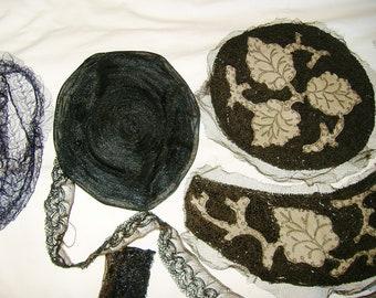 Vintage Lot of Black Hats In Progess • Hat Parts