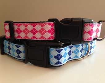 Pink or Blue Argyle 1 inch Large Dog Collar