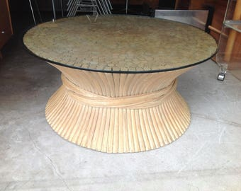 Sheaf of Wheat Bamboo Coffee Table Mid Century Modern