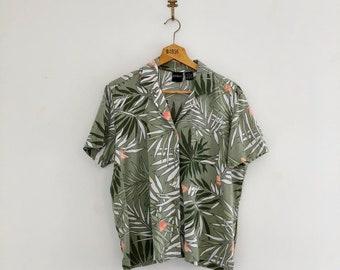 Vintage 80's Palm Print Tropical Shirt M