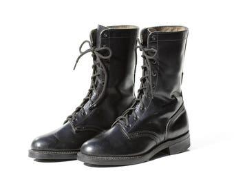 Vintage Black Leather Combat Boots / size 7.5
