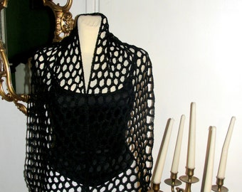 Scarf  crochet , shawl  in the winter, in  black LINEN  ,lace with decorative tassels with ecofrendly product