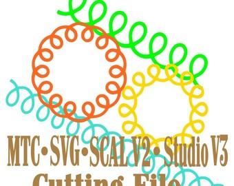 Loopy bordure et Loopy cercles coupe fichiers MTC SVG Silhouette SCAL v2 numérique Format lot de 4