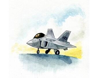 F-22 Raptor Fighter Jet Watercolor