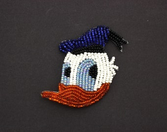 Donald Duck Applique,Vintage Seed & Bugle Bead Applique,Vintage Disney,Licensed Disney,#ETS1411