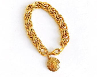 Vintage Repurposed Louis Vuitton Button Charm Gold Bracelet