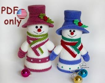 Crochet pattern - Snowman Christmas amigurumi toy (English)
