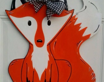 Wooden Fox Fall Door Hanger