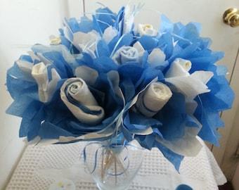 Diaper Rose Flower Bouquet Baby Shower Table Centerpiece Gift Girl Boy  Unisex