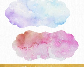 Label Clipart Set - Watercolor Style - INSTANT DOWNLOAD - .PNG Files