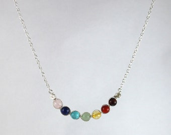 7 Chakras bar and chain necklace model O