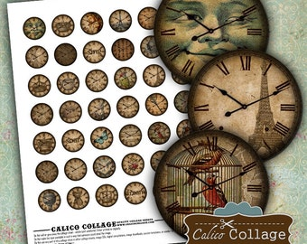Clock Faces Digital Collage Sheet for Glass Dome Pendants, Bottle Cap, Bezel Settings, Cabochon, Decoupage, Jewelry Paper, Pendant Images