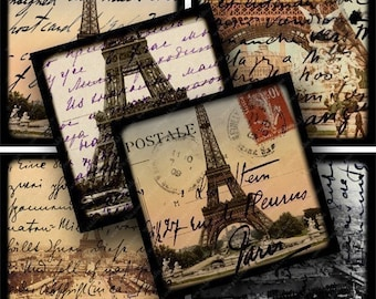 Framed Eiffel Towers with Text in 2 inch squares -- piddix digital collage sheet 634