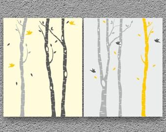 Birch Trees Art Print, Kids Art Print, Kids Room Decor, Nursery Wall Art Set of 2 Prints, Kids Wall Art, Nursery Wall Decor, Children Poster